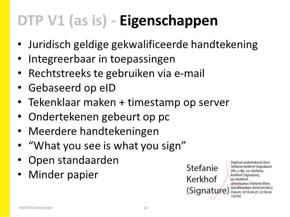 WebIDM3 Doelgroepen20 Juridisch geldige gekwalificeerde handtekening Integreerbaar in toepassingen Rechtstreeks te gebruiken via e-mail Gebaseerd op e