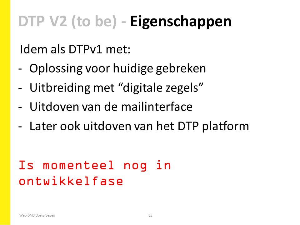 """WebIDM3 Doelgroepen22 Idem als DTPv1 met: -Oplossing voor huidige gebreken -Uitbreiding met """"digitale zegels"""" -Uitdoven van de mailinterface -Later oo"""