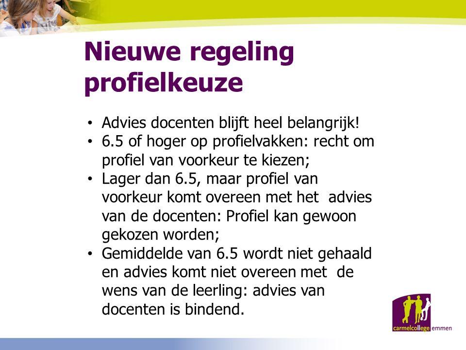 Nieuwe regeling profielkeuze Advies docenten blijft heel belangrijk! 6.5 of hoger op profielvakken: recht om profiel van voorkeur te kiezen; Lager dan