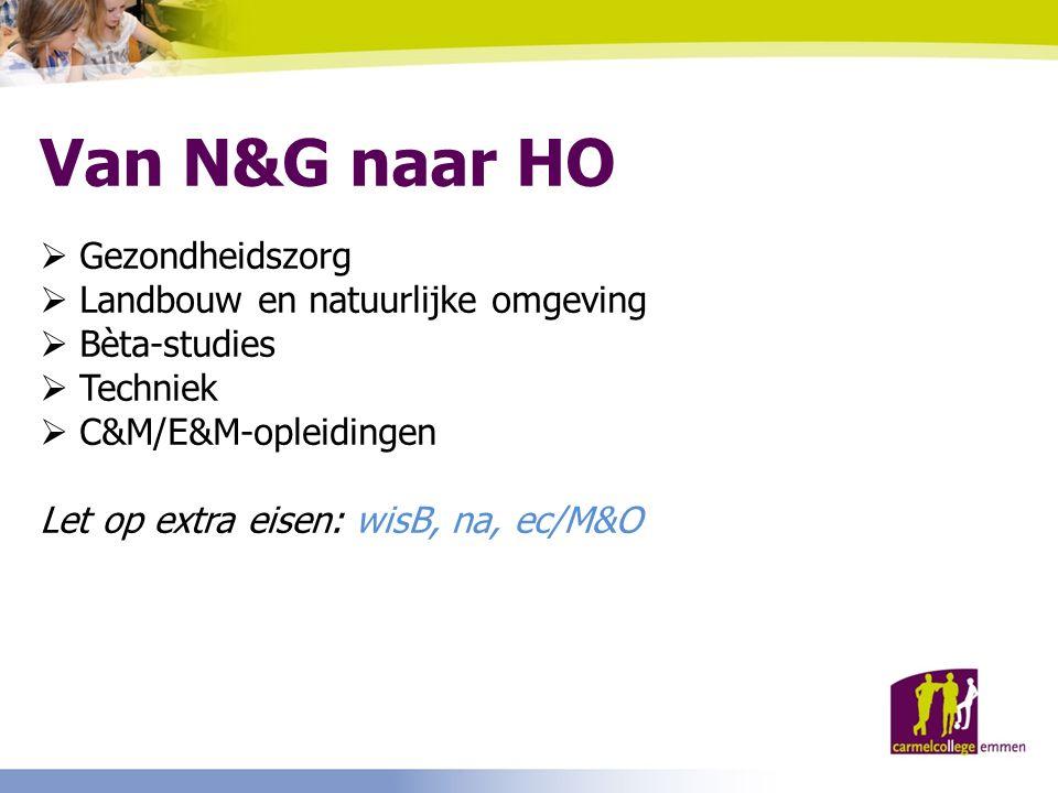 Van N&G naar HO  Gezondheidszorg  Landbouw en natuurlijke omgeving  Bèta-studies  Techniek  C&M/E&M-opleidingen Let op extra eisen: wisB, na, ec/M&O