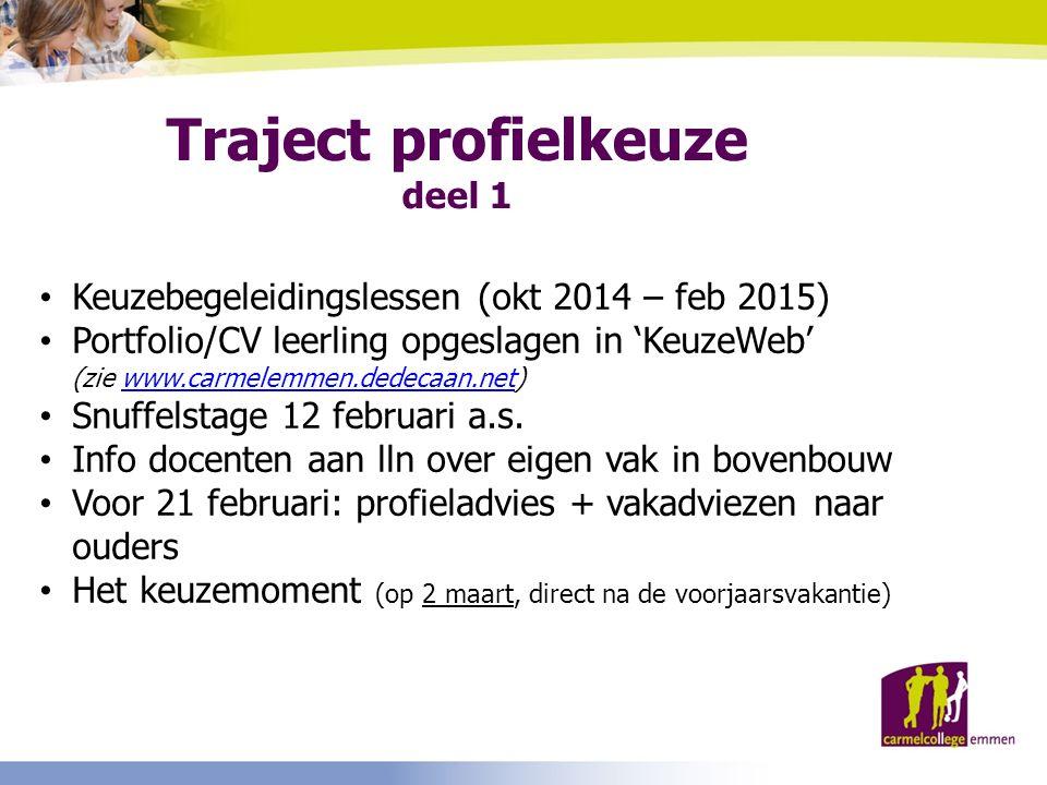 Traject profielkeuze deel 1 Keuzebegeleidingslessen (okt 2014 – feb 2015) Portfolio/CV leerling opgeslagen in 'KeuzeWeb' (zie www.carmelemmen.dedecaan.net)www.carmelemmen.dedecaan.net Snuffelstage 12 februari a.s.