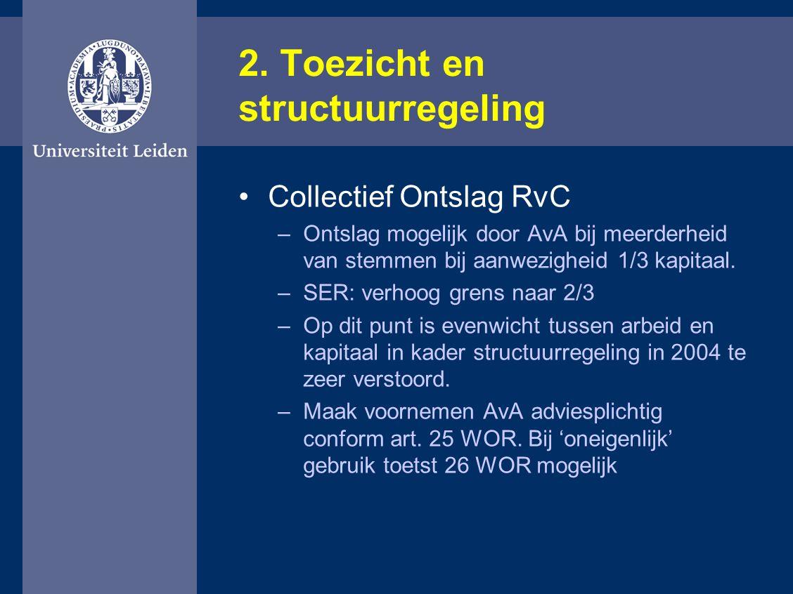 2. Toezicht en structuurregeling Collectief Ontslag RvC –Ontslag mogelijk door AvA bij meerderheid van stemmen bij aanwezigheid 1/3 kapitaal. –SER: ve