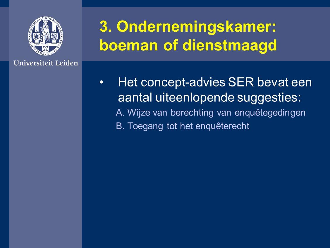 3. Ondernemingskamer: boeman of dienstmaagd Het concept-advies SER bevat een aantal uiteenlopende suggesties: A. Wijze van berechting van enquêtegedin