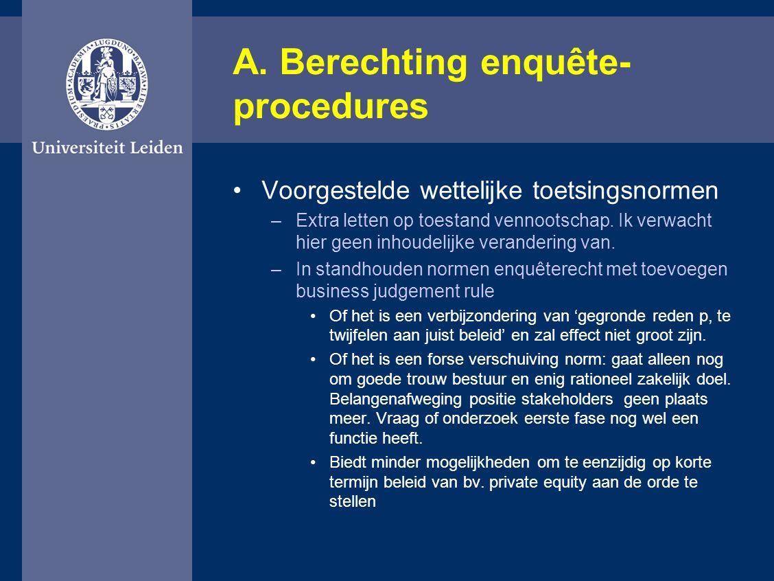 A. Berechting enquête- procedures Voorgestelde wettelijke toetsingsnormen –Extra letten op toestand vennootschap. Ik verwacht hier geen inhoudelijke v