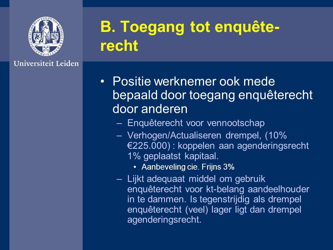 B. Toegang tot enquête- recht Positie werknemer ook mede bepaald door toegang enquêterecht door anderen –Enquêterecht voor vennootschap –Verhogen/Actu