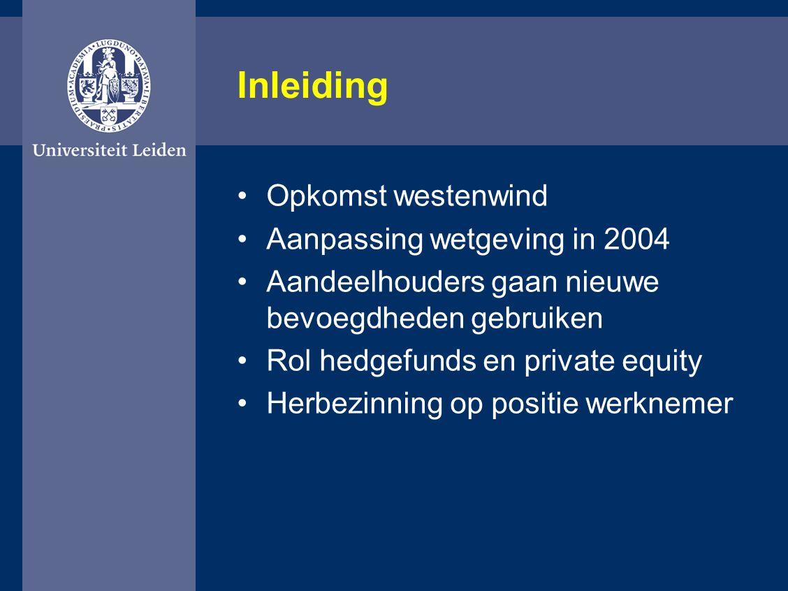 Inleiding Opkomst westenwind Aanpassing wetgeving in 2004 Aandeelhouders gaan nieuwe bevoegdheden gebruiken Rol hedgefunds en private equity Herbezinning op positie werknemer