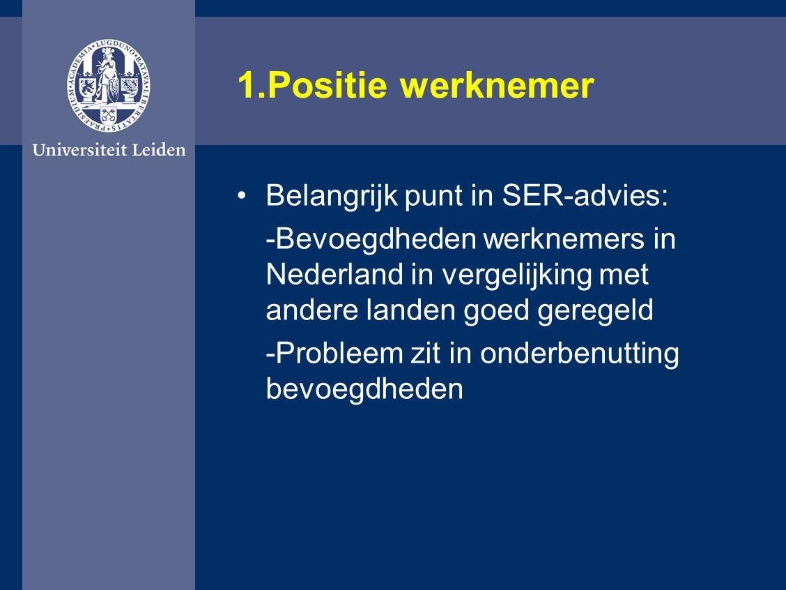 1.Positie werknemer Belangrijk punt in SER-advies: -Bevoegdheden werknemers in Nederland in vergelijking met andere landen goed geregeld -Probleem zit in onderbenutting bevoegdheden