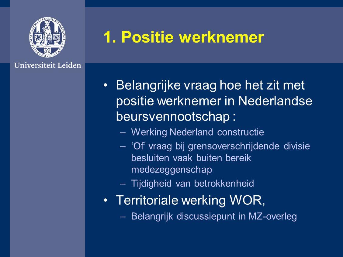 1. Positie werknemer Belangrijke vraag hoe het zit met positie werknemer in Nederlandse beursvennootschap : –Werking Nederland constructie –'Of' vraag