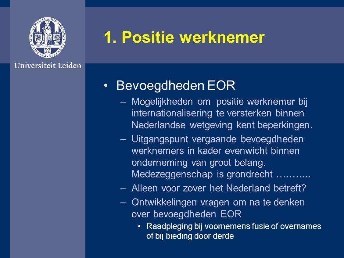1. Positie werknemer Bevoegdheden EOR –Mogelijkheden om positie werknemer bij internationalisering te versterken binnen Nederlandse wetgeving kent bep