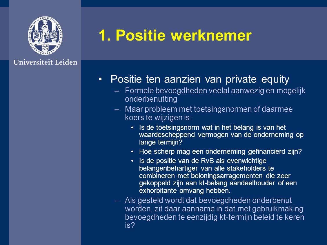 1. Positie werknemer Positie ten aanzien van private equity –Formele bevoegdheden veelal aanwezig en mogelijk onderbenutting –Maar probleem met toetsi