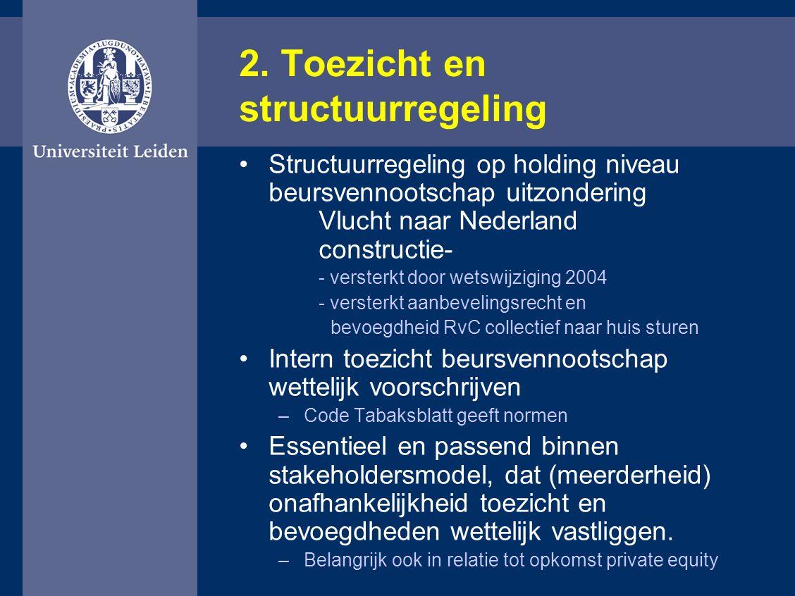 2. Toezicht en structuurregeling Structuurregeling op holding niveau beursvennootschap uitzondering Vlucht naar Nederland constructie- - versterkt doo