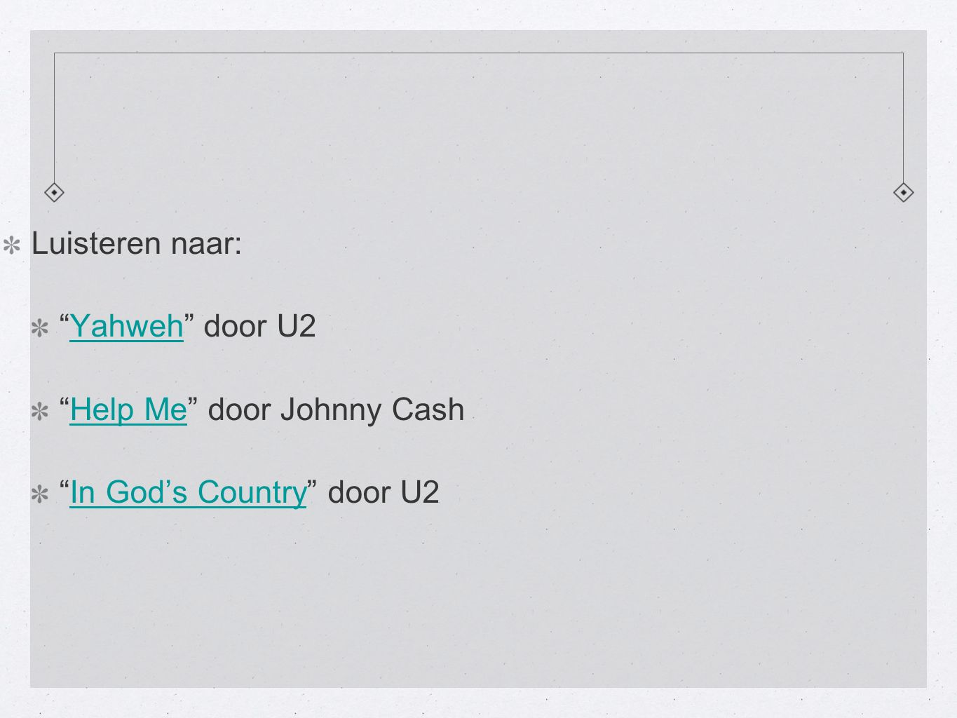 Luisteren naar: Yahweh door U2Yahweh Help Me door Johnny CashHelp Me In God's Country door U2In God's Country