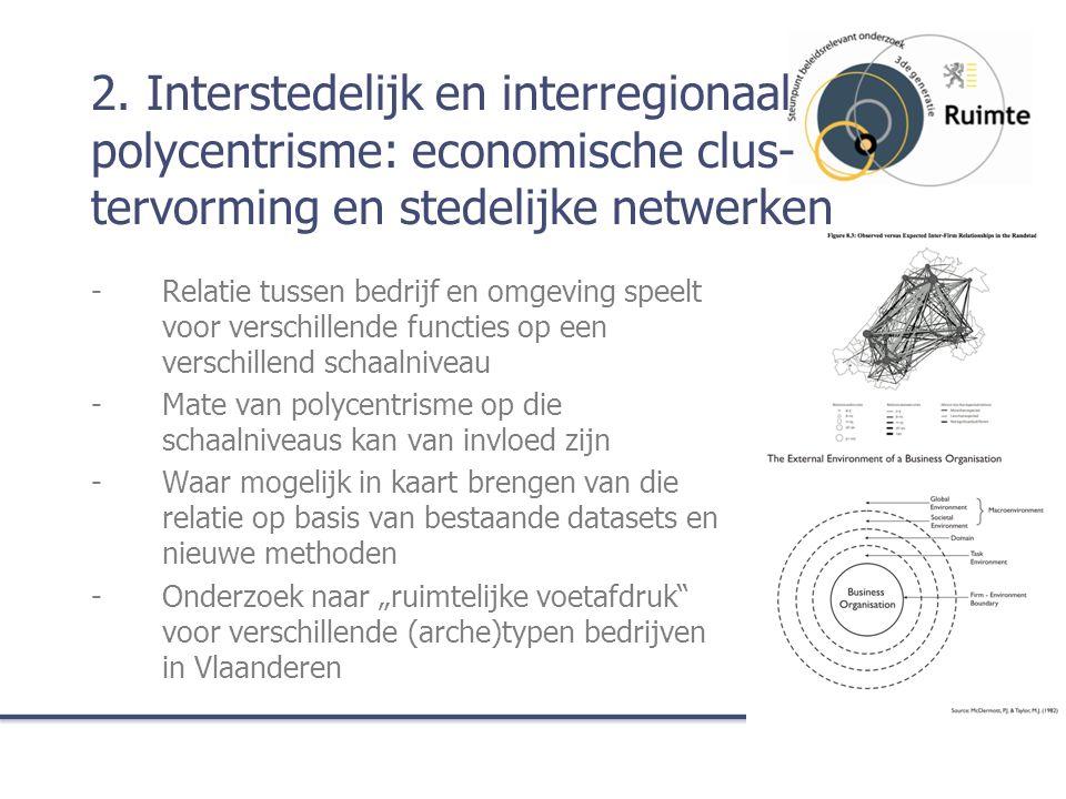 2. Interstedelijk en interregionaal polycentrisme: economische clus- tervorming en stedelijke netwerken -Relatie tussen bedrijf en omgeving speelt voo