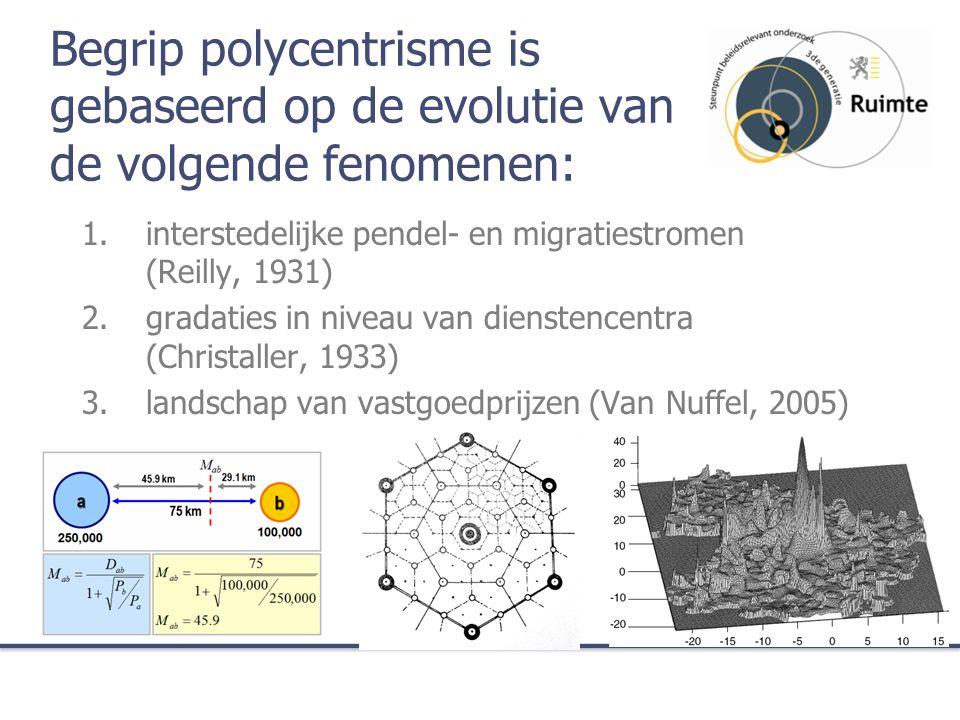 Begrip polycentrisme is gebaseerd op de evolutie van de volgende fenomenen: 1.interstedelijke pendel- en migratiestromen (Reilly, 1931) 2.gradaties in niveau van dienstencentra (Christaller, 1933) 3.landschap van vastgoedprijzen (Van Nuffel, 2005)