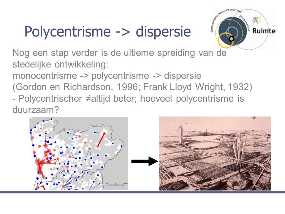 Polycentrisme -> dispersie Nog een stap verder is de ultieme spreiding van de stedelijke ontwikkeling: monocentrisme -> polycentrisme -> dispersie (Gordon en Richardson, 1996; Frank Lloyd Wright, 1932) - Polycentrischer ≠altijd beter; hoeveel polycentrisme is duurzaam