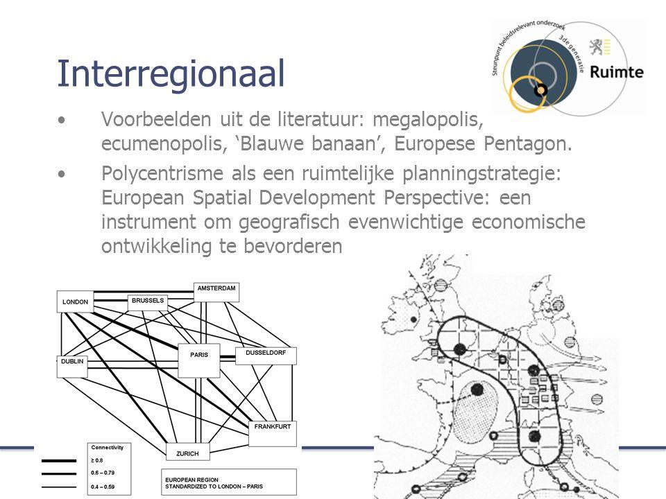 Interregionaal Voorbeelden uit de literatuur: megalopolis, ecumenopolis, 'Blauwe banaan', Europese Pentagon.