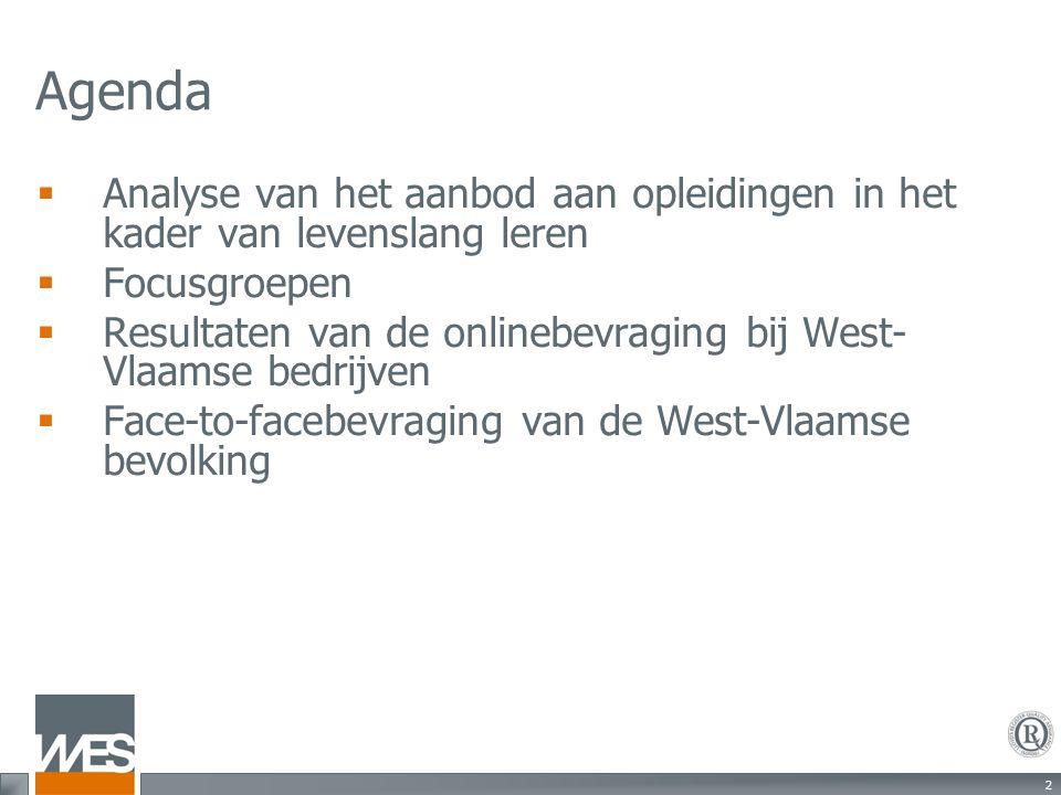 2 Agenda  Analyse van het aanbod aan opleidingen in het kader van levenslang leren  Focusgroepen  Resultaten van de onlinebevraging bij West- Vlaamse bedrijven  Face-to-facebevraging van de West-Vlaamse bevolking