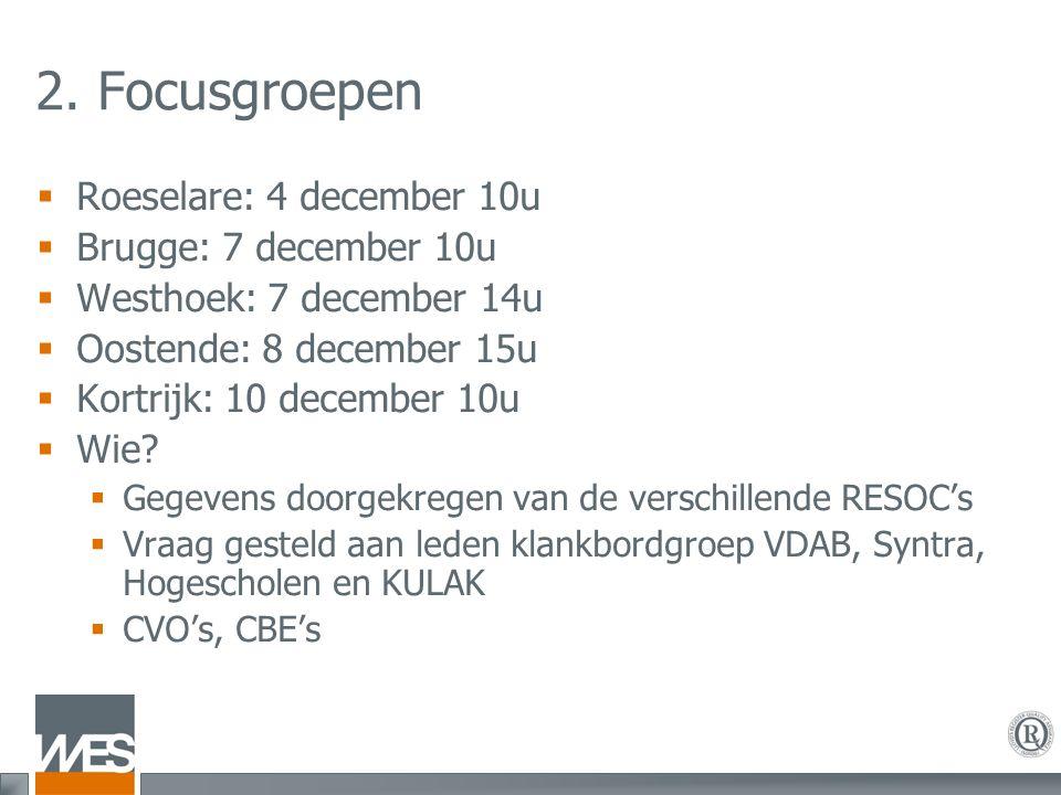 2. Focusgroepen  Roeselare: 4 december 10u  Brugge: 7 december 10u  Westhoek: 7 december 14u  Oostende: 8 december 15u  Kortrijk: 10 december 10u