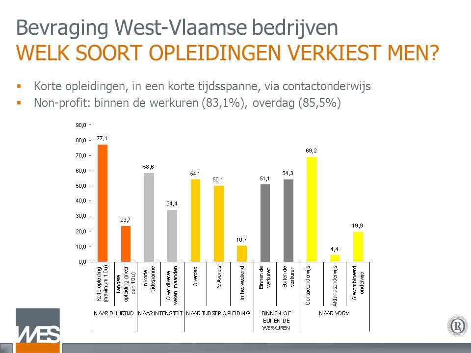 Bevraging West-Vlaamse bedrijven WELK SOORT OPLEIDINGEN VERKIEST MEN.