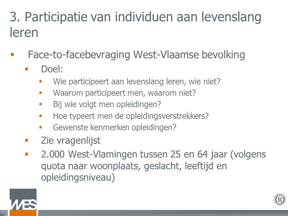 3. Participatie van individuen aan levenslang leren  Face-to-facebevraging West-Vlaamse bevolking  Doel:  Wie participeert aan levenslang leren, wi