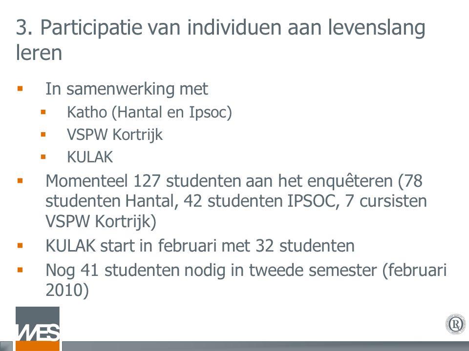 3. Participatie van individuen aan levenslang leren  In samenwerking met  Katho (Hantal en Ipsoc)  VSPW Kortrijk  KULAK  Momenteel 127 studenten