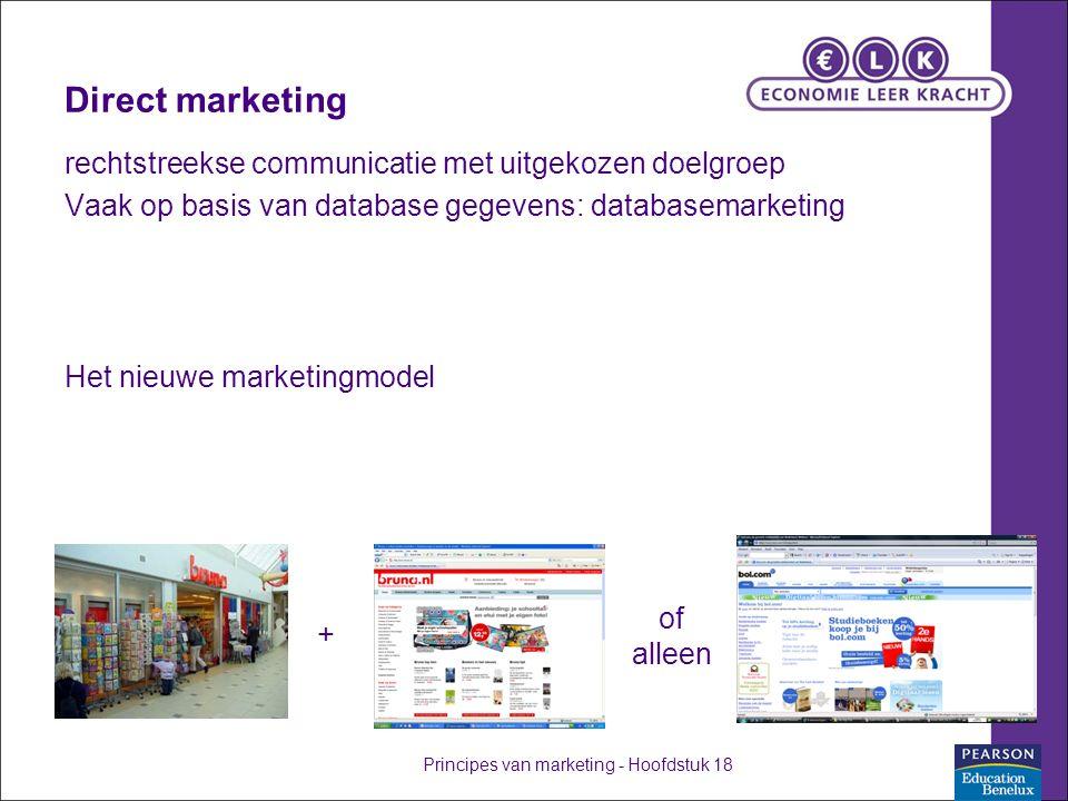 Direct marketing rechtstreekse communicatie met uitgekozen doelgroep Vaak op basis van database gegevens: databasemarketing Het nieuwe marketingmodel