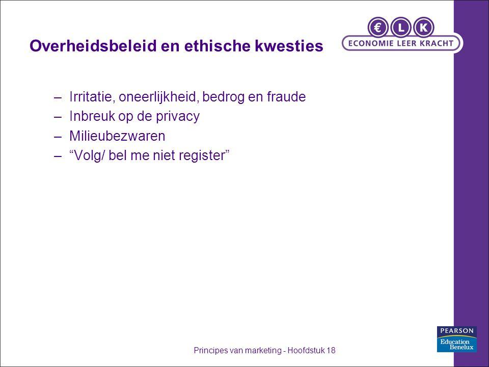Overheidsbeleid en ethische kwesties –Irritatie, oneerlijkheid, bedrog en fraude –Inbreuk op de privacy –Milieubezwaren – Volg/ bel me niet register Principes van marketing - Hoofdstuk 18