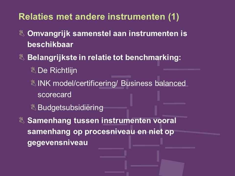 Relaties met andere instrumenten (1) BOmvangrijk samenstel aan instrumenten is beschikbaar BBelangrijkste in relatie tot benchmarking: BDe Richtlijn BINK model/certificering/ Business balanced scorecard BBudgetsubsidiëring BSamenhang tussen instrumenten vooral samenhang op procesniveau en niet op gegevensniveau