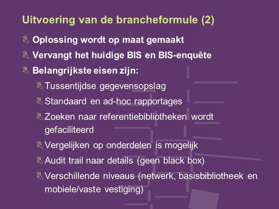 Uitvoering van de brancheformule (2) BOplossing wordt op maat gemaakt BVervangt het huidige BIS en BIS-enquête BBelangrijkste eisen zijn: BTussentijds