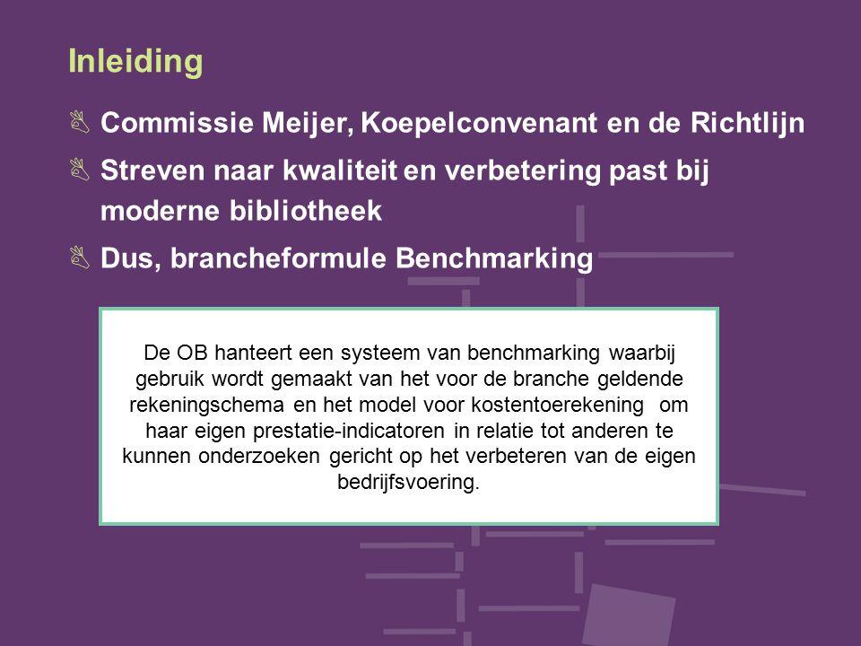 Inleiding BCommissie Meijer, Koepelconvenant en de Richtlijn BStreven naar kwaliteit en verbetering past bij moderne bibliotheek BDus, brancheformule