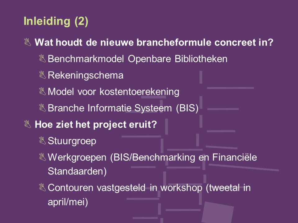 Inleiding (2) BWat houdt de nieuwe brancheformule concreet in? BBenchmarkmodel Openbare Bibliotheken BRekeningschema BModel voor kostentoerekening BBr