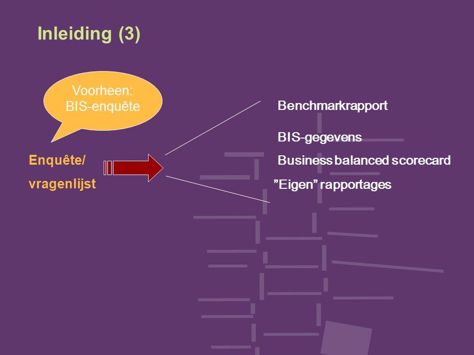 Inleiding (3) Enquête/ vragenlijst Benchmarkrapport BIS-gegevens Eigen rapportages Business balanced scorecard Voorheen: BIS-enquête
