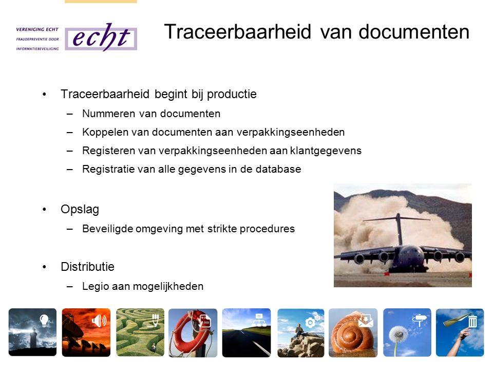 Traceerbaarheid van documenten Traceerbaarheid begint bij productie –Nummeren van documenten –Koppelen van documenten aan verpakkingseenheden –Registeren van verpakkingseenheden aan klantgegevens –Registratie van alle gegevens in de database Opslag –Beveiligde omgeving met strikte procedures Distributie –Legio aan mogelijkheden