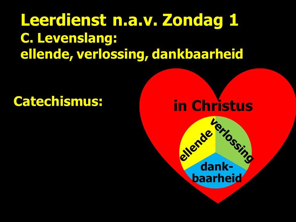 Leerdienst n.a.v. Zondag 1 C. Levenslang: ellende, verlossing, dankbaarheid ellende verlossing dank- baarheid Catechismus: in Christus