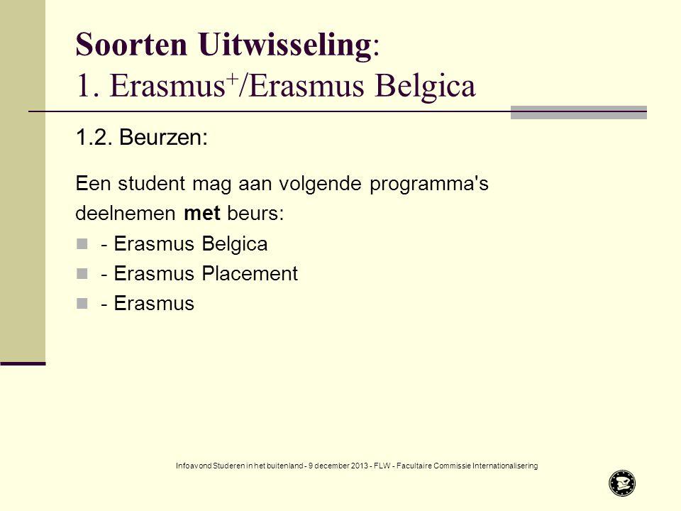 Soorten Uitwisseling: 1.Erasmus + /Erasmus Belgica 1.2.
