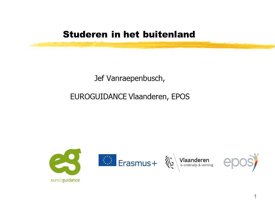 1 Studeren in het buitenland Jef Vanraepenbusch, EUROGUIDANCE Vlaanderen, EPOS