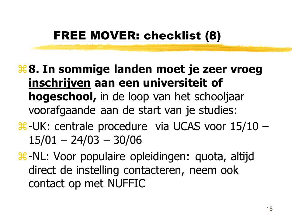 18 FREE MOVER: checklist (8) z8.