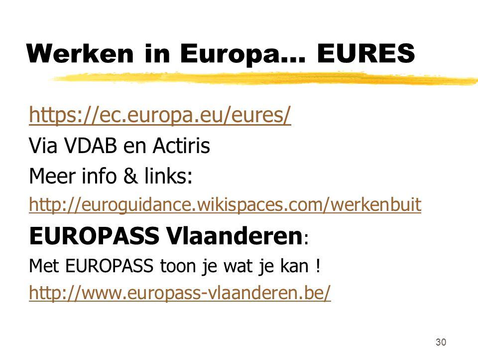 Werken in Europa… EURES https://ec.europa.eu/eures/ Via VDAB en Actiris Meer info & links: http://euroguidance.wikispaces.com/werkenbuit EUROPASS Vlaa
