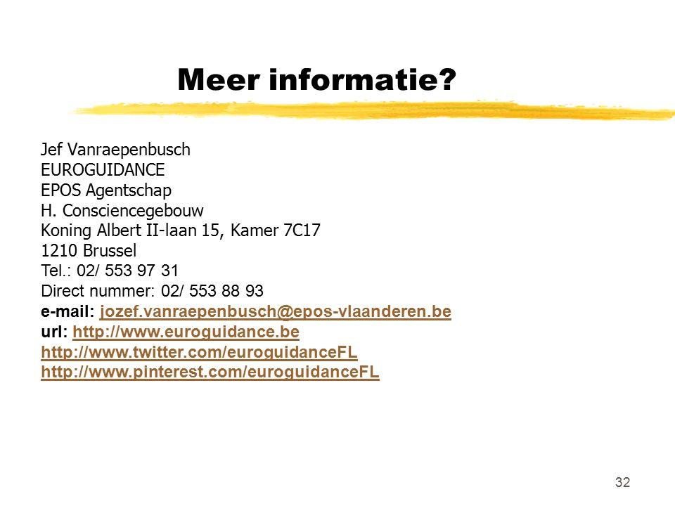 32 Meer informatie? Jef Vanraepenbusch EUROGUIDANCE EPOS Agentschap H. Consciencegebouw Koning Albert II-laan 15, Kamer 7C17 1210 Brussel Tel.: 02/ 55
