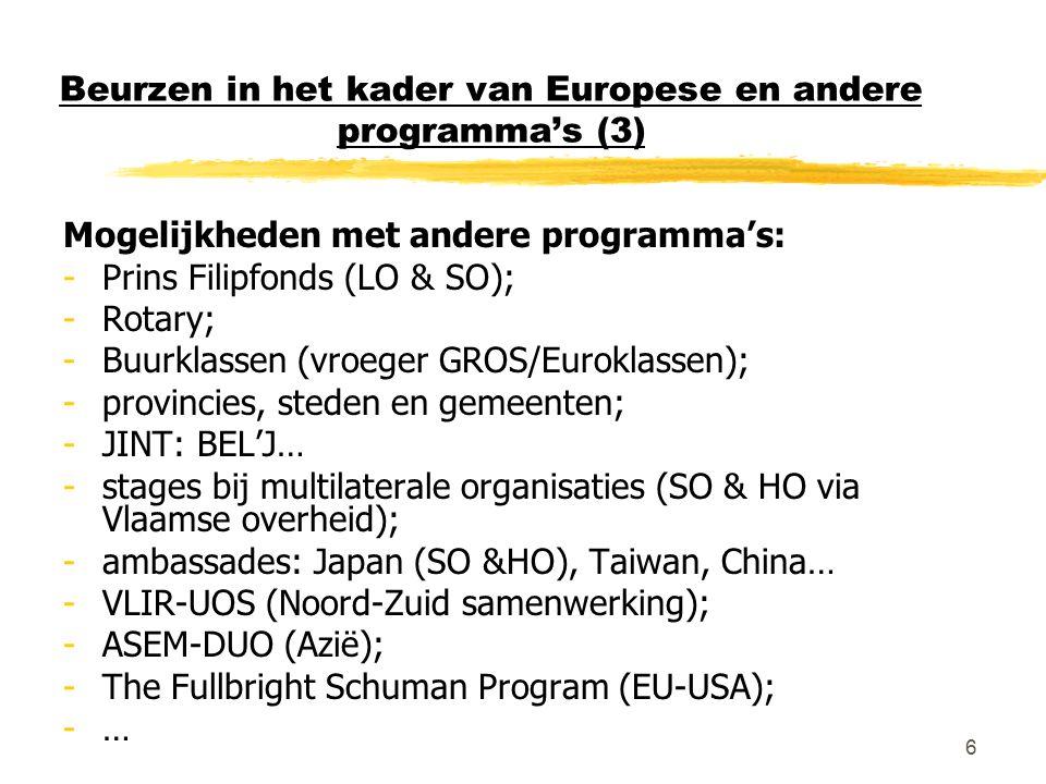 6 Beurzen in het kader van Europese en andere programma's (3) Mogelijkheden met andere programma's: -Prins Filipfonds (LO & SO); -Rotary; -Buurklassen (vroeger GROS/Euroklassen); -provincies, steden en gemeenten; -JINT: BEL'J… -stages bij multilaterale organisaties (SO & HO via Vlaamse overheid); -ambassades: Japan (SO &HO), Taiwan, China… -VLIR-UOS (Noord-Zuid samenwerking); -ASEM-DUO (Azië); -The Fullbright Schuman Program (EU-USA); -…