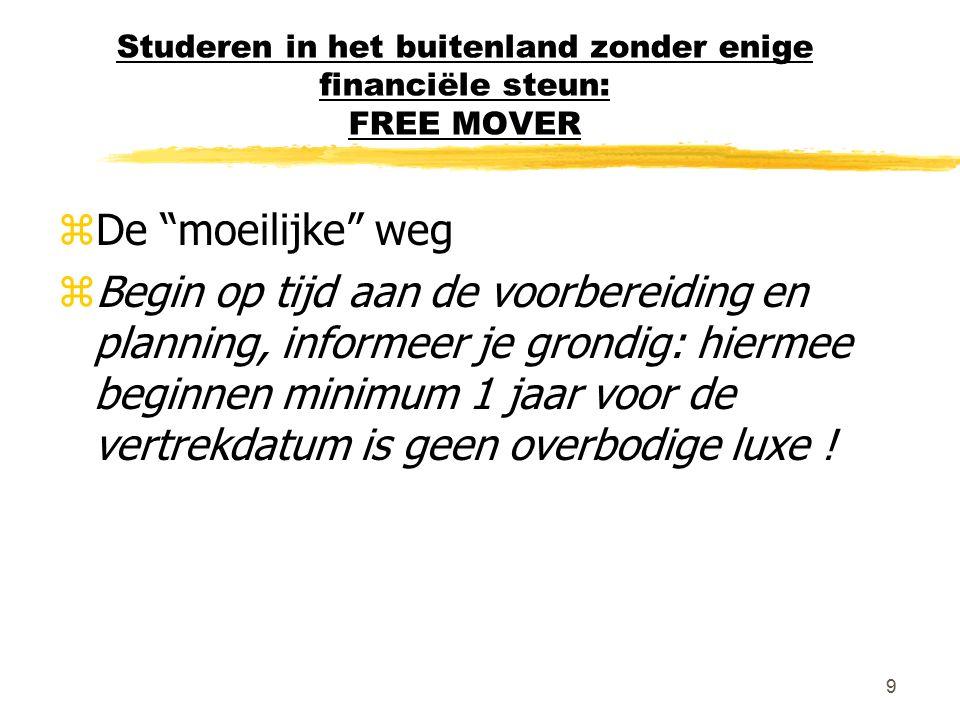 """9 Studeren in het buitenland zonder enige financiële steun: FREE MOVER zDe """"moeilijke"""" weg zBegin op tijd aan de voorbereiding en planning, informeer"""