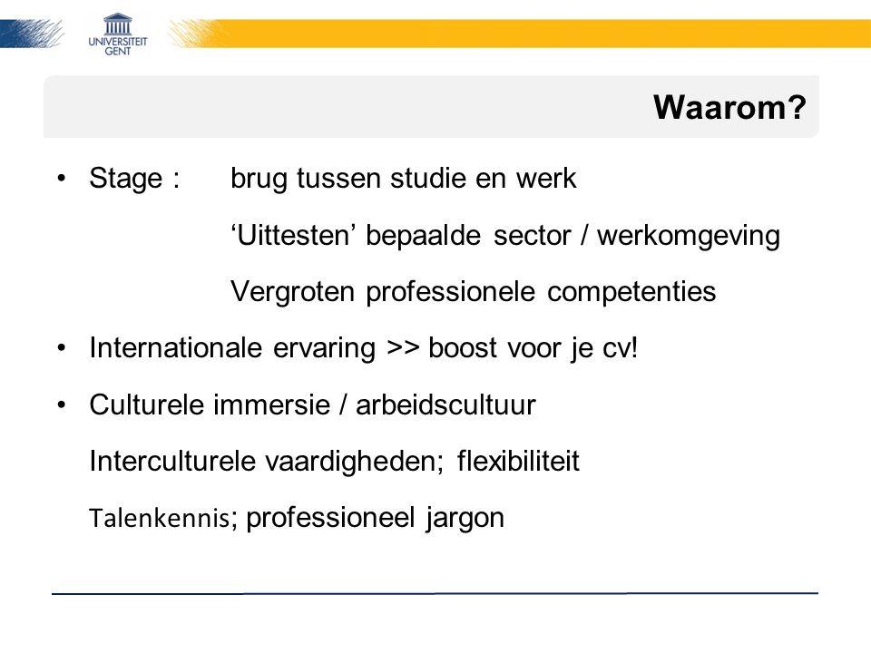 Waarom? Stage : brug tussen studie en werk 'Uittesten' bepaalde sector / werkomgeving Vergroten professionele competenties Internationale ervaring >>