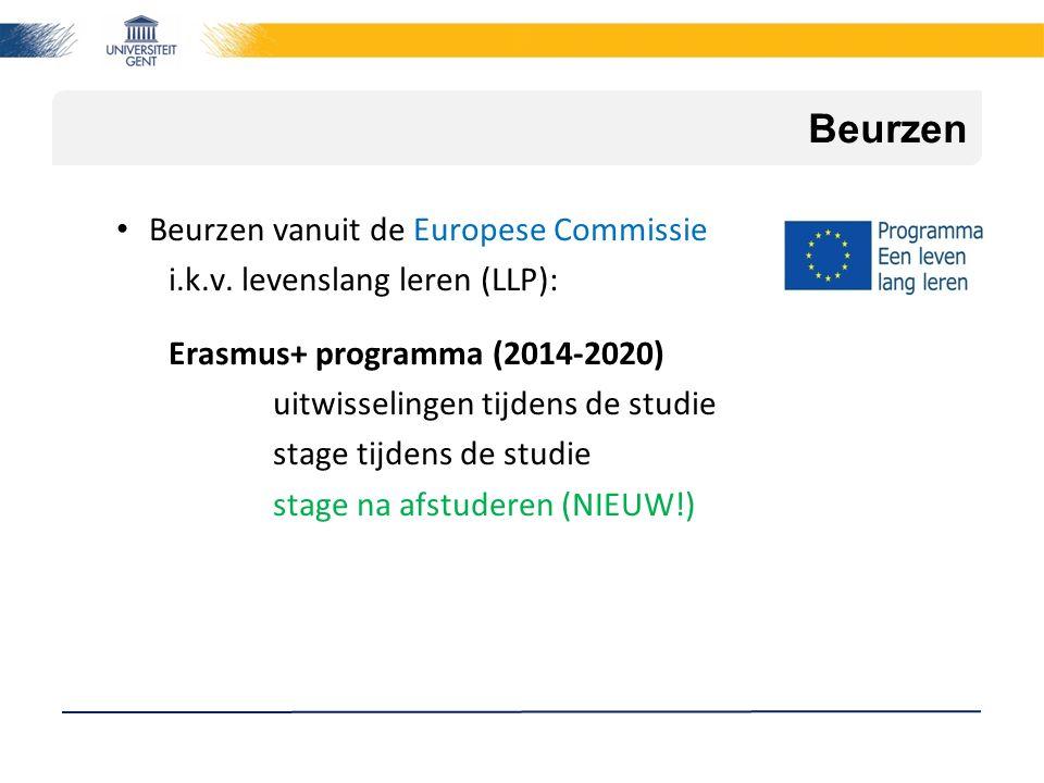 Beurzen Beurzen vanuit de Europese Commissie i.k.v. levenslang leren (LLP): Erasmus+ programma (2014-2020) uitwisselingen tijdens de studie stage tijd