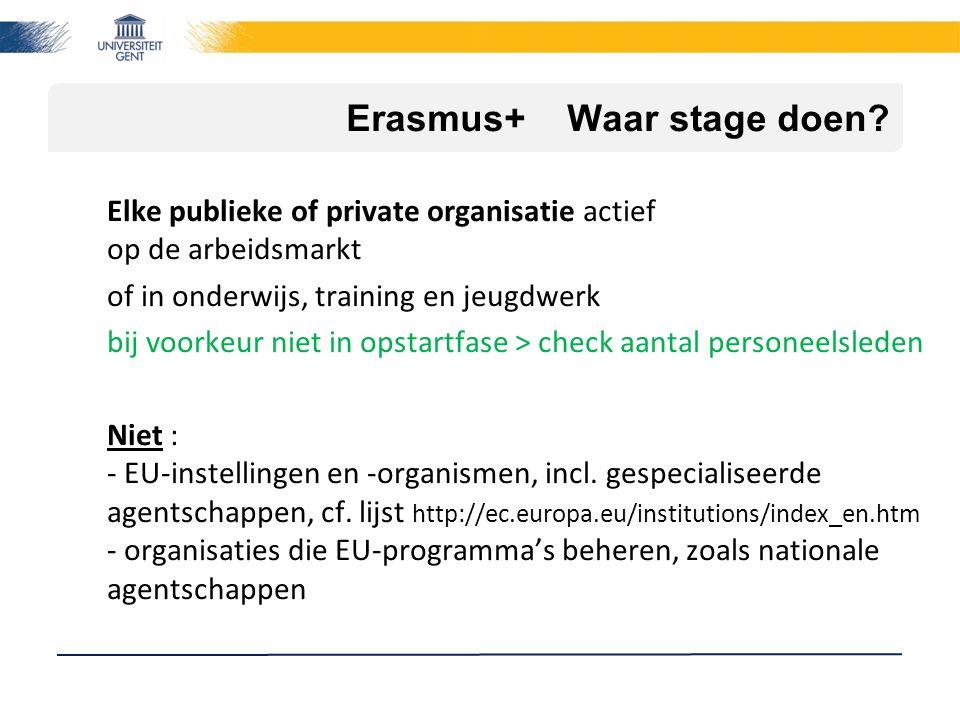 Erasmus+ Waar stage doen? Elke publieke of private organisatie actief op de arbeidsmarkt of in onderwijs, training en jeugdwerk bij voorkeur niet in o