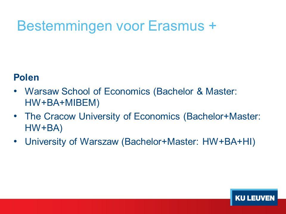 Bestemmingen voor Erasmus + Polen Warsaw School of Economics (Bachelor & Master: HW+BA+MIBEM) The Cracow University of Economics (Bachelor+Master: HW+