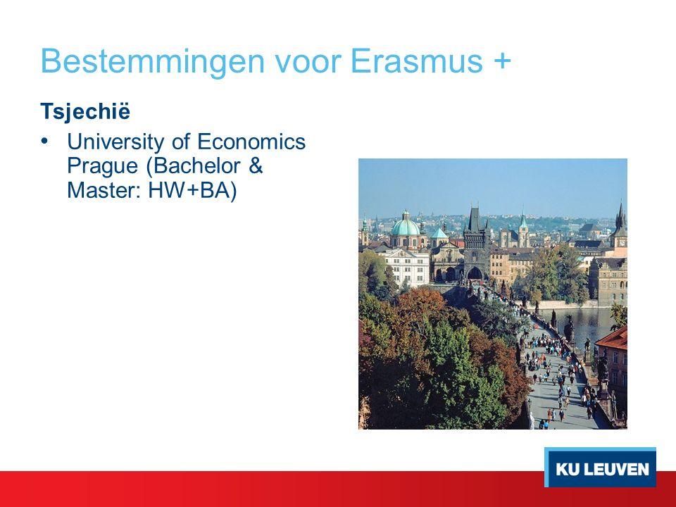 Bestemmingen voor Erasmus + Tsjechië University of Economics Prague (Bachelor & Master: HW+BA)