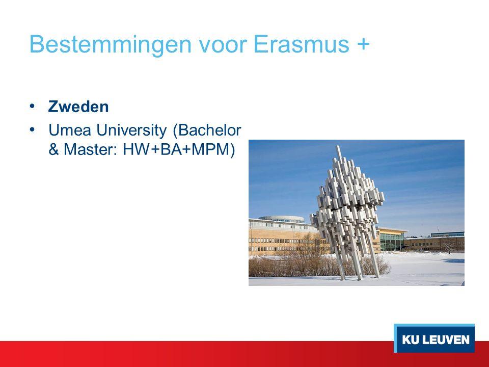 Bestemmingen voor Erasmus + Zweden Umea University (Bachelor & Master: HW+BA+MPM)