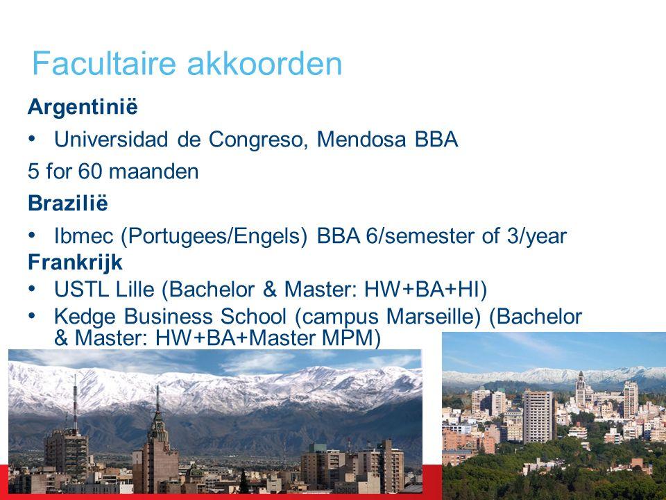 Argentinië Universidad de Congreso, Mendosa BBA 5 for 60 maanden Brazilië Ibmec (Portugees/Engels) BBA 6/semester of 3/year Frankrijk USTL Lille (Bachelor & Master: HW+BA+HI) Kedge Business School (campus Marseille) (Bachelor & Master: HW+BA+Master MPM) Facultaire akkoorden