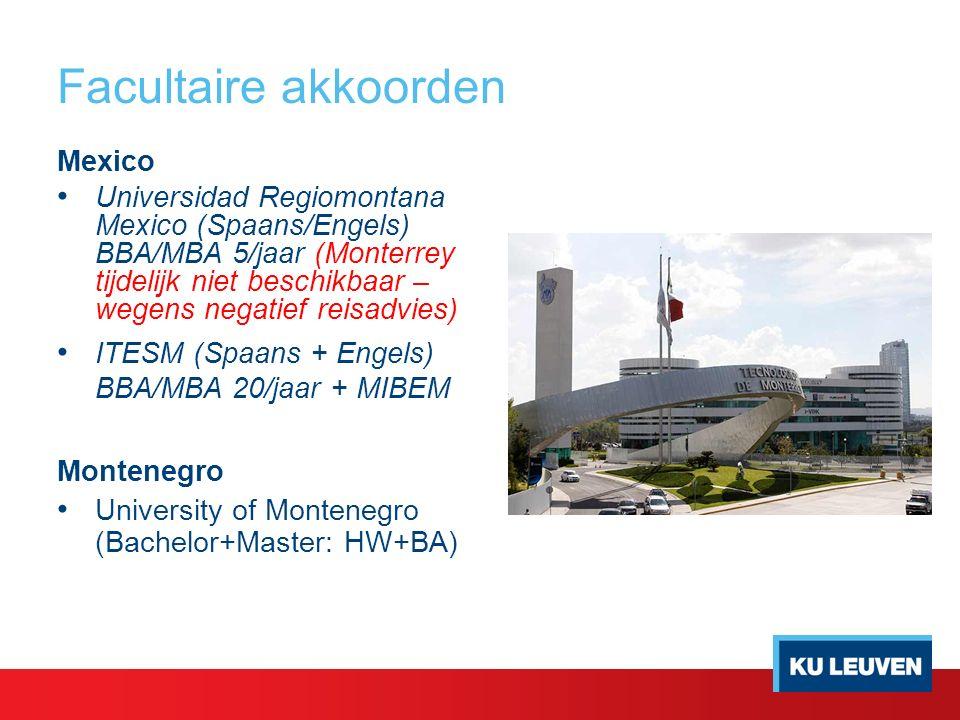 Mexico Universidad Regiomontana Mexico (Spaans/Engels) BBA/MBA 5/jaar (Monterrey tijdelijk niet beschikbaar – wegens negatief reisadvies) ITESM (Spaans + Engels) BBA/MBA 20/jaar + MIBEM Montenegro University of Montenegro (Bachelor+Master: HW+BA)