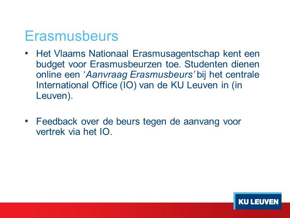 Erasmusbeurs Het Vlaams Nationaal Erasmusagentschap kent een budget voor Erasmusbeurzen toe.